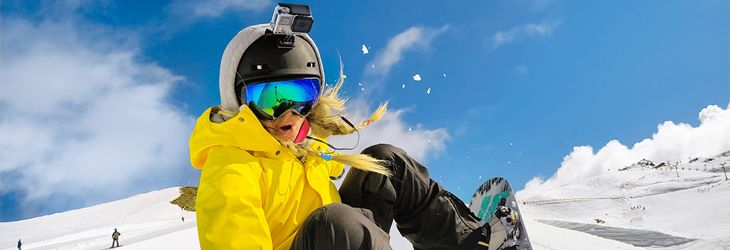 skiing with GoPro Camera